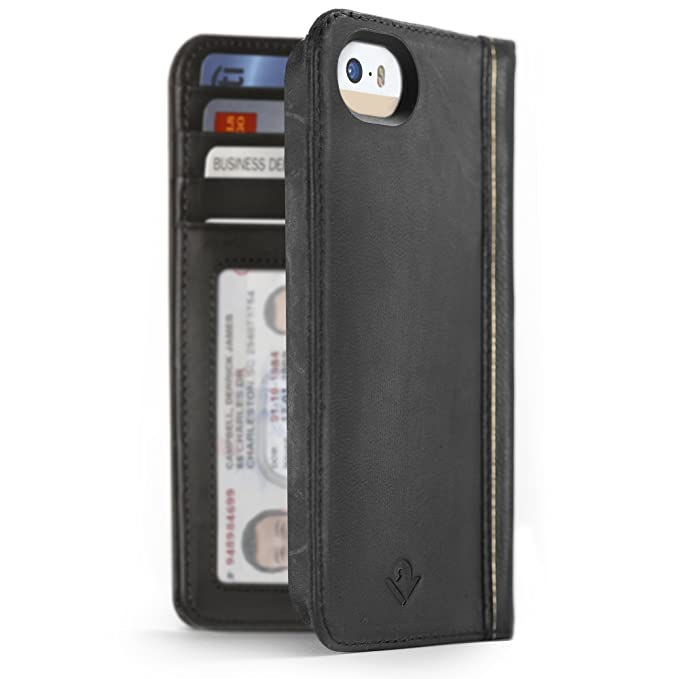 free shipping eea1c d1664 Twelve South BookBook for iPhone SE/5s, Classic Black | Vintage Leather  iPhone Book case and Wallet