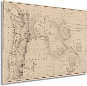 Historix Vintage 1859 State of Oregon and Washington Territory Map - 24x32 Vintage Pacific Northwest Wall Art - Pacific Northwest Decor - Pacific Northwest Map Poster - Northwest US Map (2 sizes)