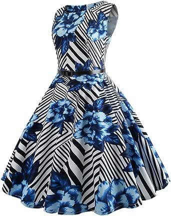 XILALU Women Vintage Boatneck Sleeveless Floral Stripe