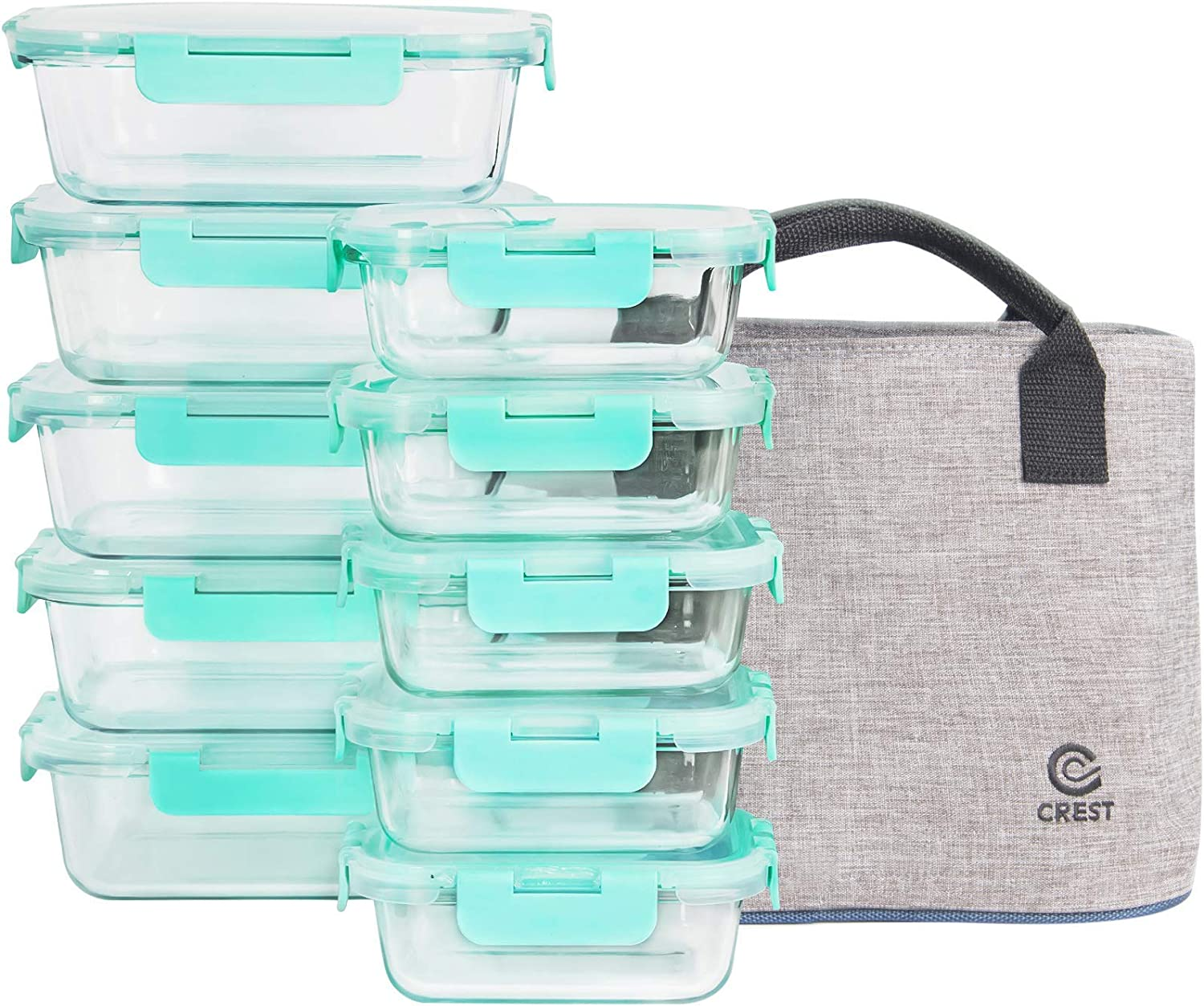 [10-Pack] Glass Food Storage Containers with Lids, Airtight, BPA Free, Meal Prep Containers with Lunch BAG
