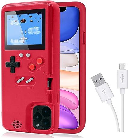 Dikkar Coque de protection Gameboy rétro auto-alimentée pour iPhone 11/12/Pro/MAX/12Mini/X/Xs/MAX/Xr/6s/7/8/Plus - 35 petits jeux, écran de couleur