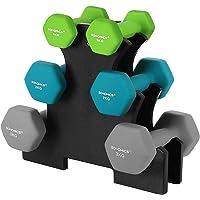 SONGMICS Hex halterset met standaard - 2 x 1 kg, 2 x 2 kg, 2 x 3 kg, neopreen, matte afwerking, fitness…