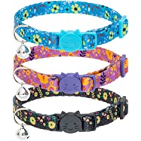 SCENEREAL Breakaway Cat Collars with Bell - 3 Pack Floral Pattern Adjustable Safety Flower Kitten Collars for Kitty Puppy Small Pets