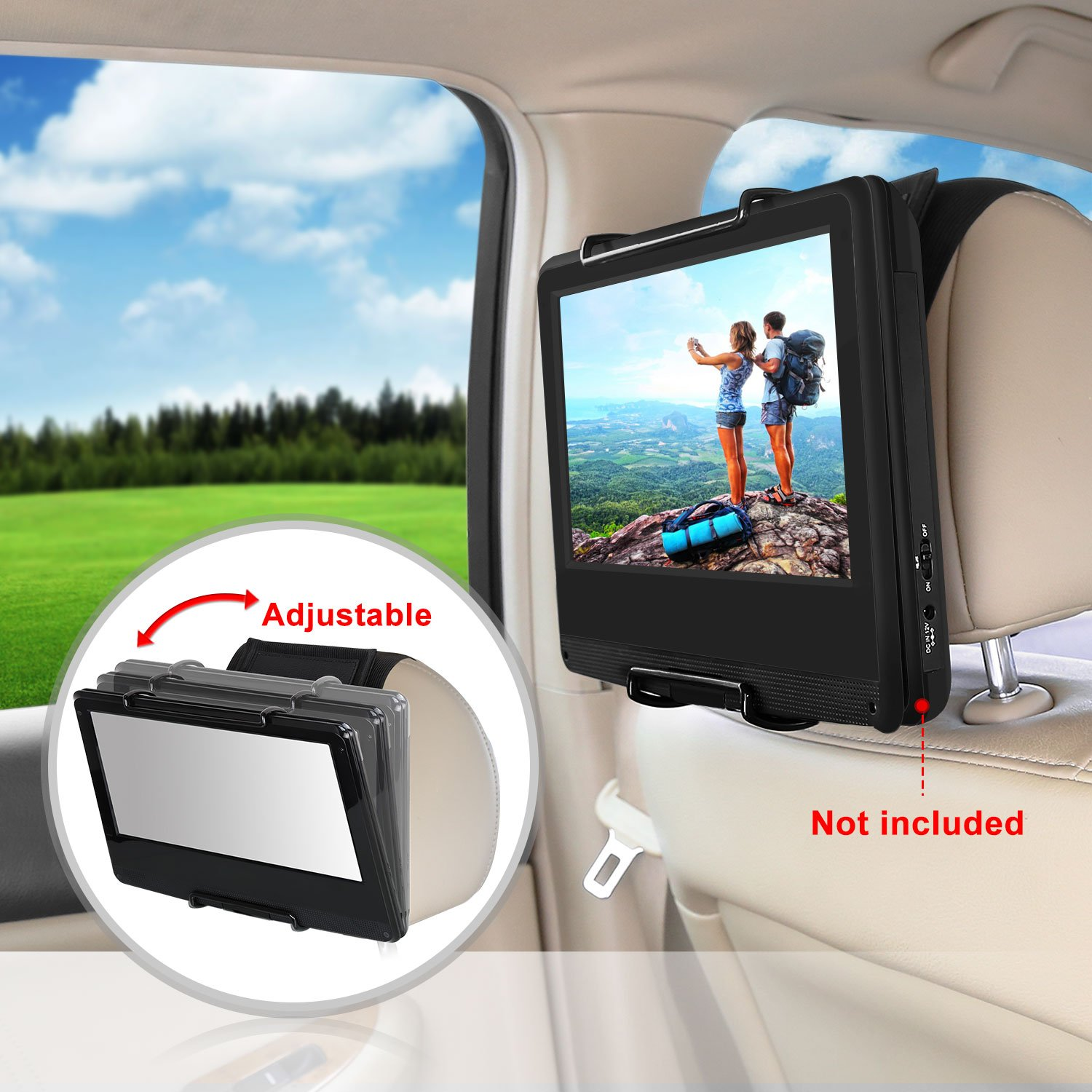 CUTRIP Car Headrest Mount Holder for CUTRIP 10.1 inch Portable Blu-ray Player and Fit for 10.1-12.5 inch Swivel Screen Portable DVD Players (DVD Player Thickness Requires about 35-42MM)