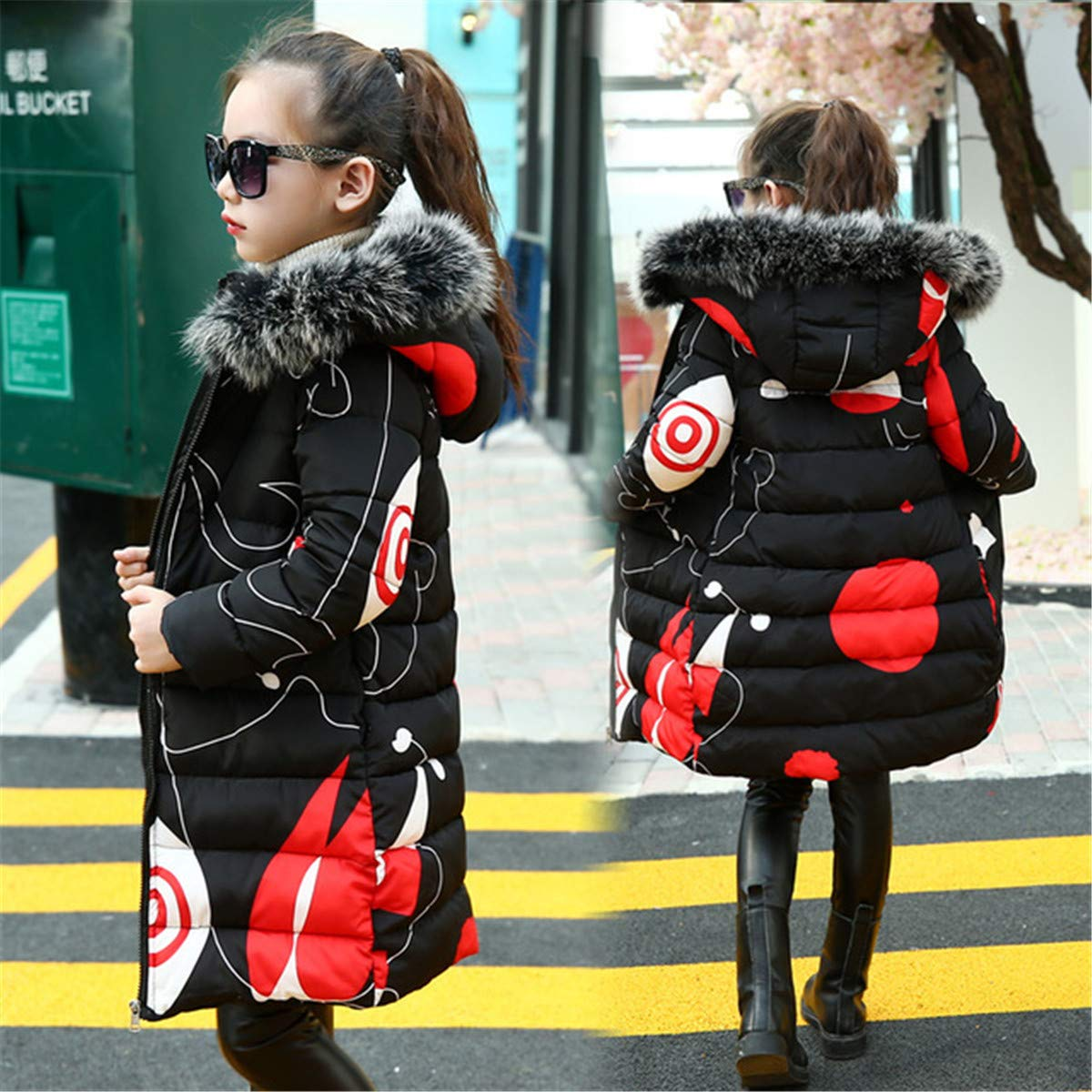 Meridiaga Children Down Jacket Winter Jacket for Girls Thick Cotton Kids Print Outerwears for Jacket Warm Coat