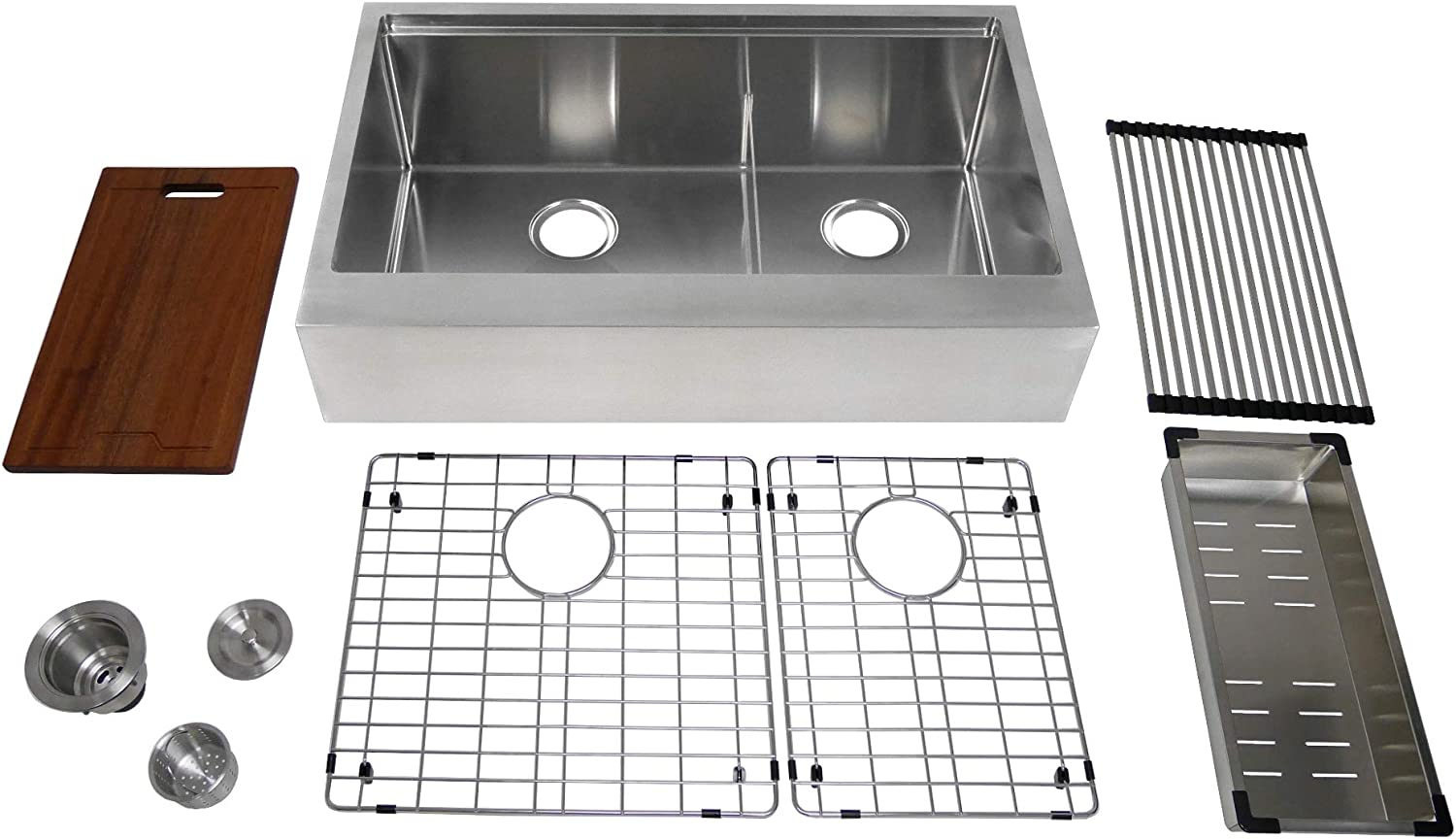 Auric Sinks 33 Retro-fit Farmhouse 6 Flat Front Apron Low Divide Double 60 40 Ledge Bowl Stainless Steel Kitchen Sink, SFAL-TD-16-33-retro 6040 COMBO
