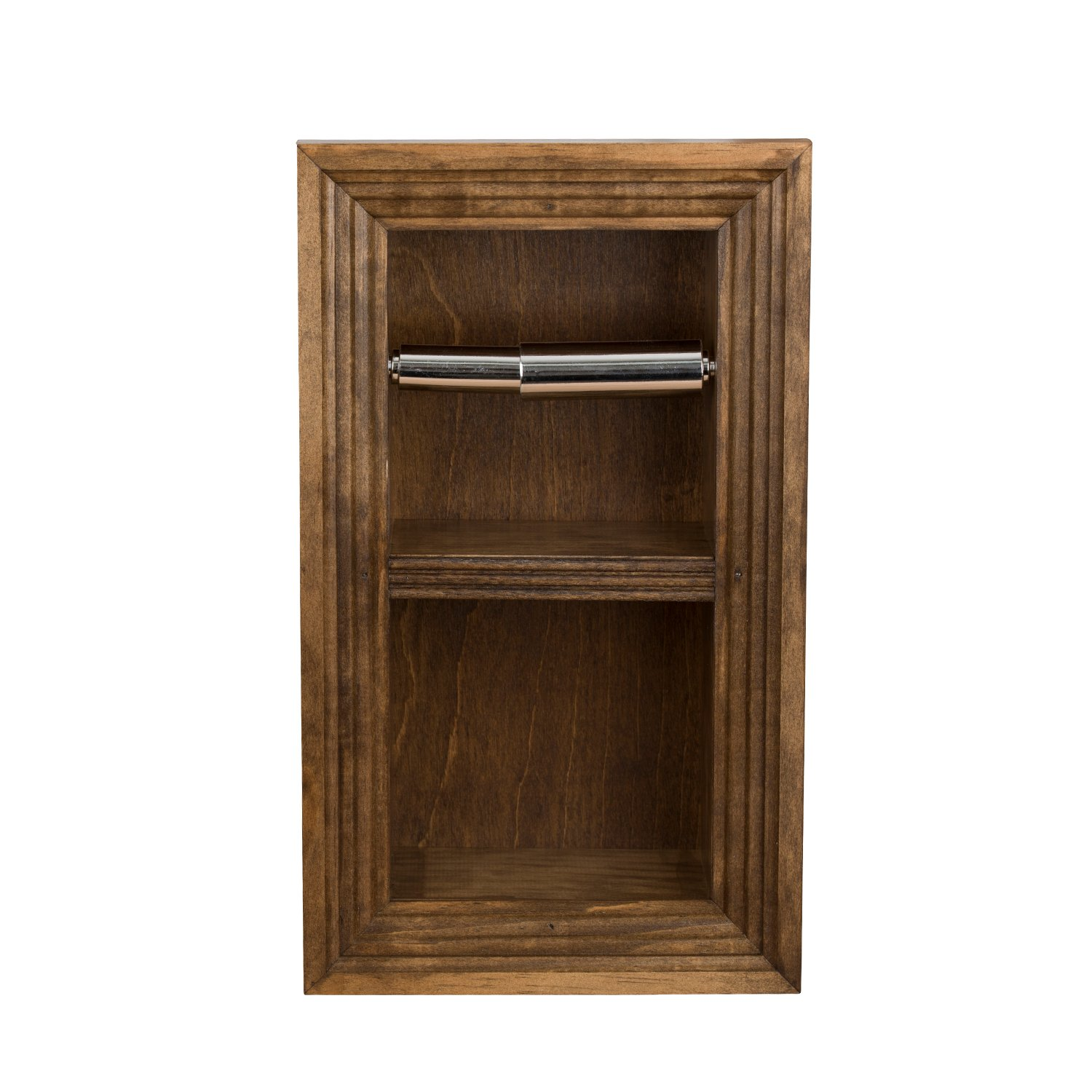 Florida Breeze Cabinets Zephyr Recessed Toilet Paper Holder with Spare Roll, Medium Brown