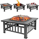 Sibosen Outdoor Fire Pit, 32 Inch Bonfire Wood Burning Firepit Square Fire Table Patio Cooler Grill Firepits w/Mesh Spark Scr