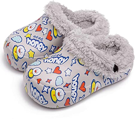 SMajong Toddler Boys Girls Fur Lined Clog Winter Slippers Slip on Garden Shoes Warm House Shoes Non-Slip Indoor Outdoor Mules