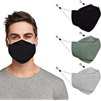 Indotribe 3D Design Adjustable Cloth Face Mask With Nose Wire & Adjustable Earloops Anti Fogging Reusable Masks Face…