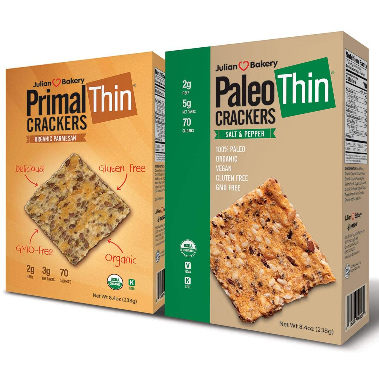Paleo & Primal Thin Crackers) (Salt & Pepper & Parmesan) (Organic, Low Carb, Gluten-Free, Grain-Free)(Variety 2 Pack) by Julian Bakery