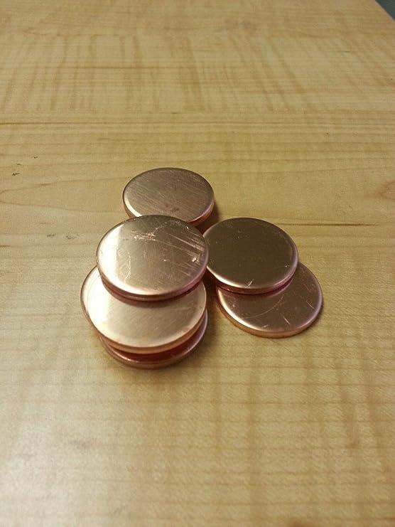 """Lot of 10 18 Gauge 1/"""" Copper Discs"""