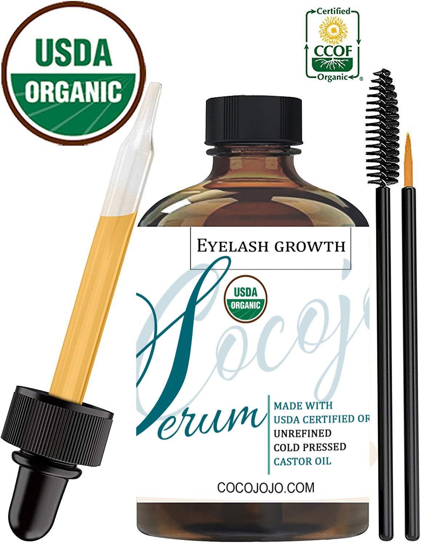 cocojojo Eyelash serum castor oil w/applicators brush wand to grow lashes natural - usda certified organic - cocojojo eyelash serum eyebrow growth serum, 1 Fluid Ounce
