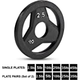 """Cast Iron Olympic 2-Inch Grip Plate by D1F for Barbell, 6 weights Available (2.5 to 45lbs) Plates for Weightlifting, Crossfit - 2"""" Weight Plate for Bodybuilding - Singles or Pairs"""