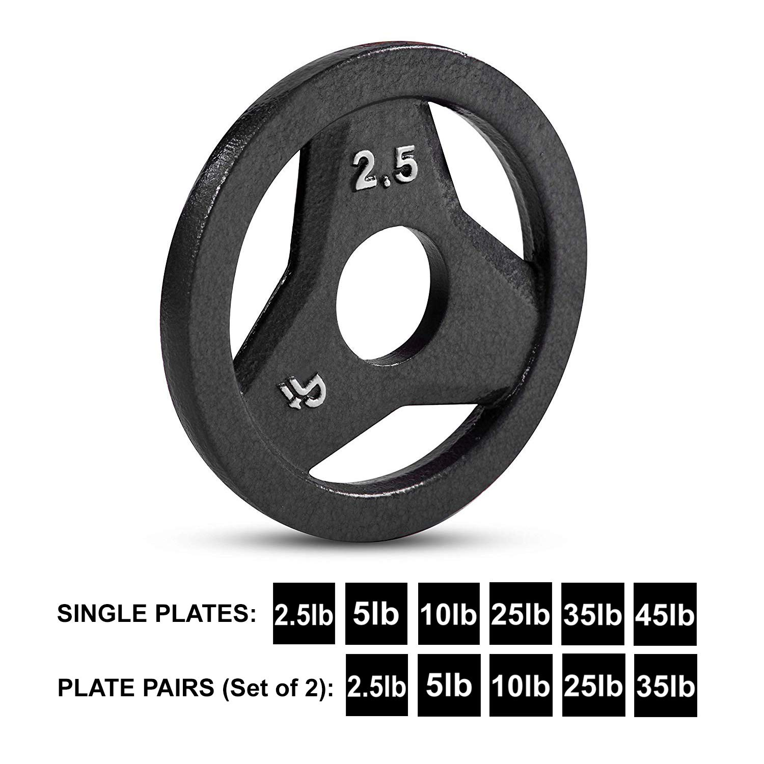 Day 1 Fitness Cast Iron Olympic 2-Inch Grip Plate for Barbell, 2.5 Pound Single Plate Iron Grip Plates for Weightlifting, Crossfit - 2'' Weight Plate for Bodybuilding by Day 1 Fitness