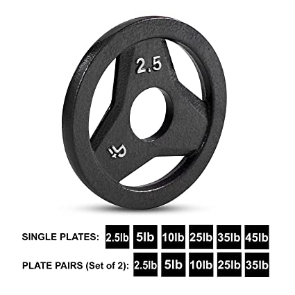 """Cast Iron Olympic 2-Inch Grip Plate by D1F for Barbell, 6 weights Available  (2 5 to 45lbs) Plates for Weightlifting, Crossfit - 2"""" Weight Plate for"""