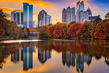 Atlanta Georgia Skyline from Piedmont Park Photo Art Print Mural Giant Poster 54x36 inch