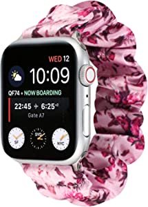 OnederHome Scrunchie Elastic Compatible for Apple Watch Band Women Girls Cloth Hair Band Strap Bracelet for iwatch Series SE 6 5 4 3 2 1 (Flower-Pink, 38/40mm for Small Wrist)