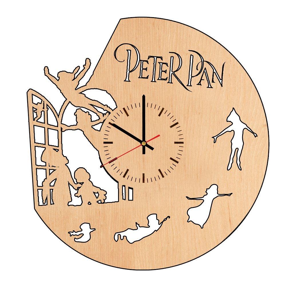 Amazon.com: Peter Pan Flying natural wood wall clock - Get unique ...