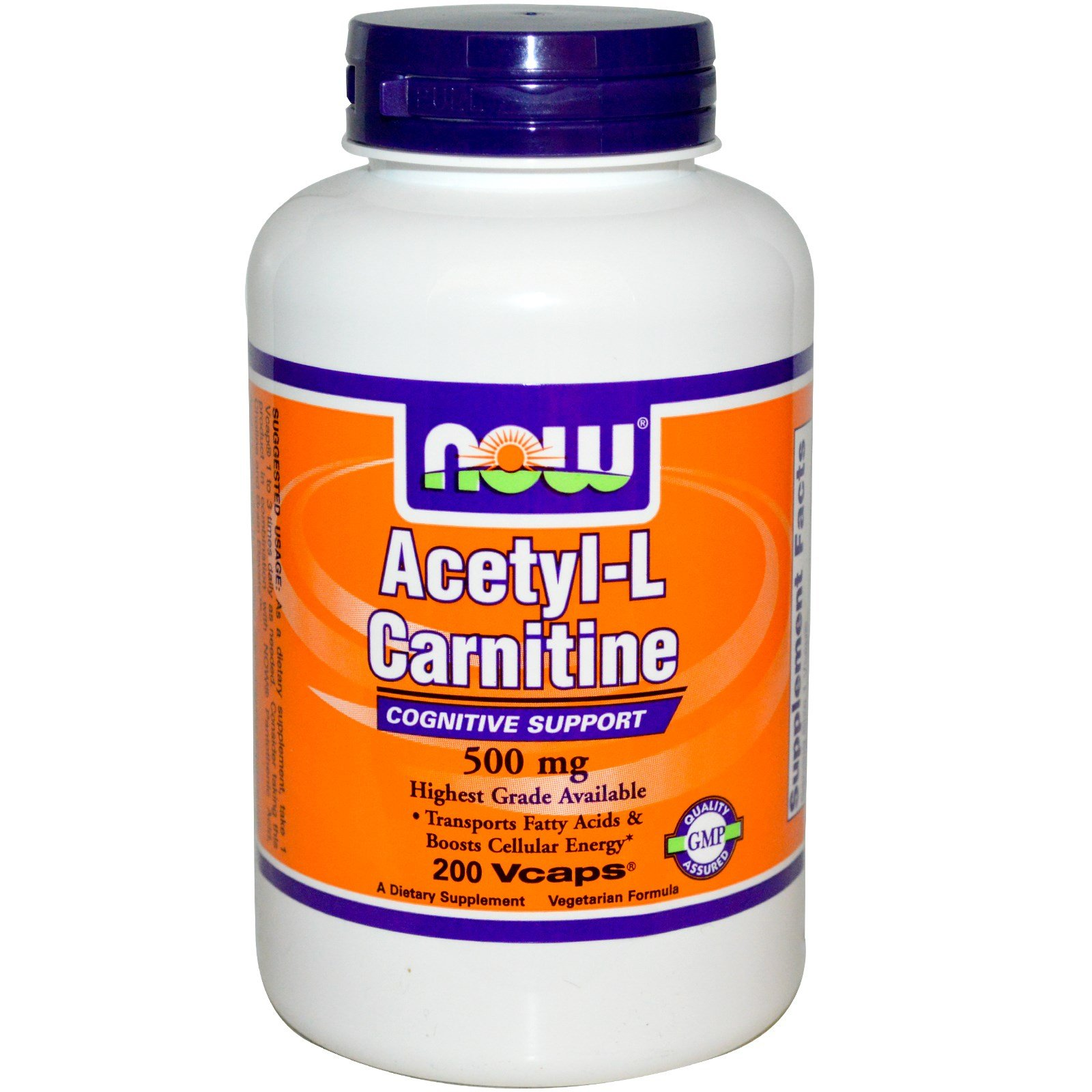 Now Foods, Acetyl-L Carnitine, 500 mg, 200 Vcaps - 3PC