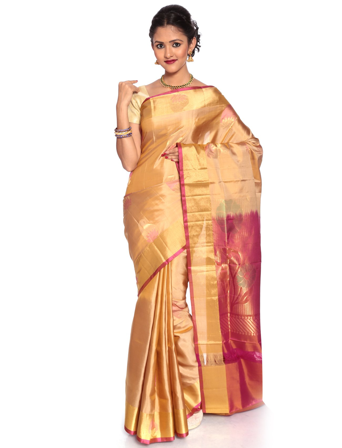 Mandakini — Indian Women's Kanchipuram - Handloom - Pure Silk Saree (Off-White)