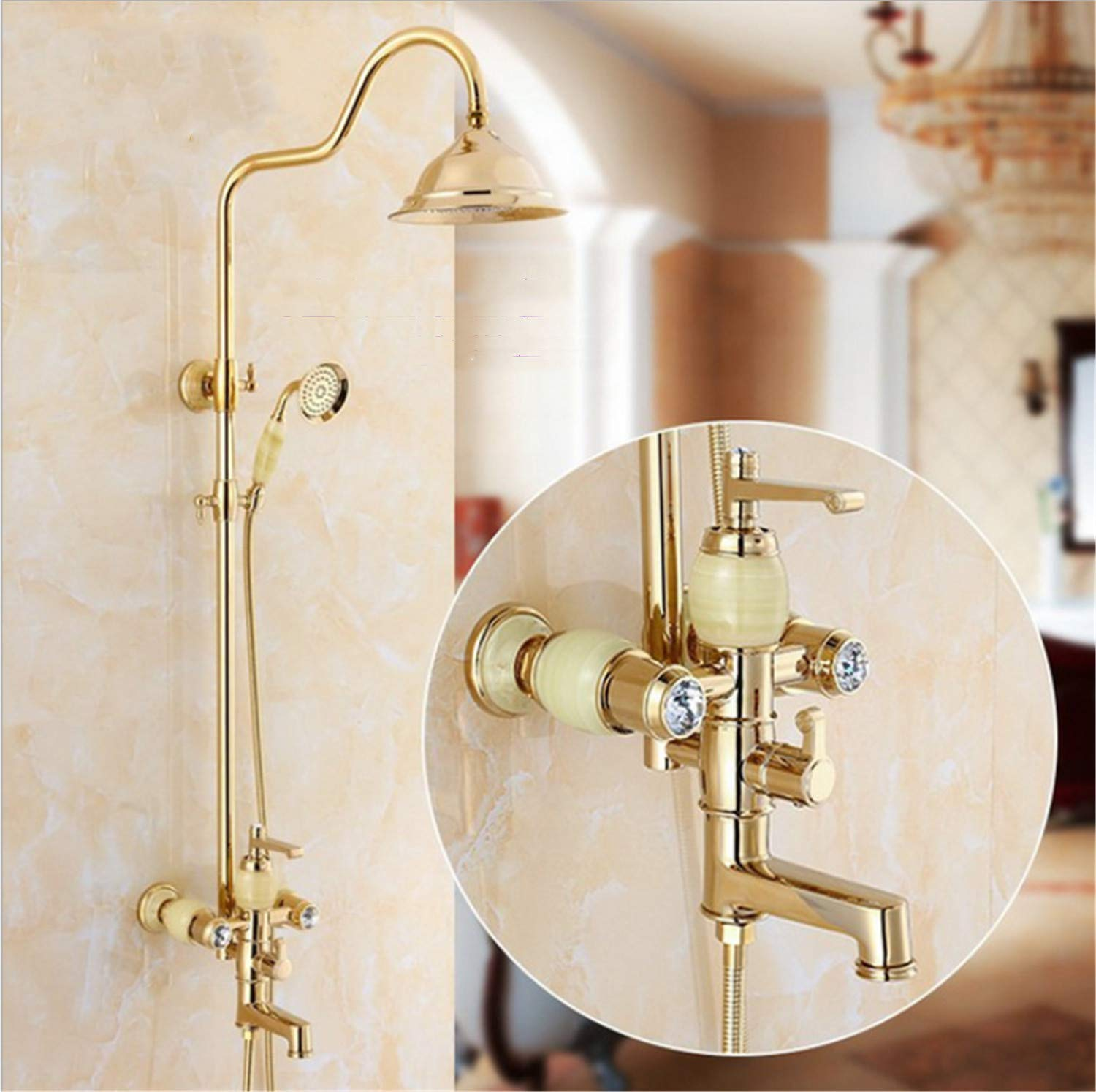 UNIQUE-F Bathroom Antique Shower Multi-Function Suit Copper Hot and Cold Water Rust Anti-scalding Telescopic Free Adjustment 2 Styles