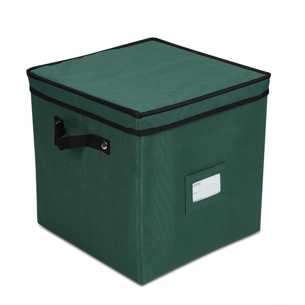 Propik Holiday Ornament Storage Box Chest, with 4 Trays Holds Up to 64 Ornaments Balls, with Dividers (Green)