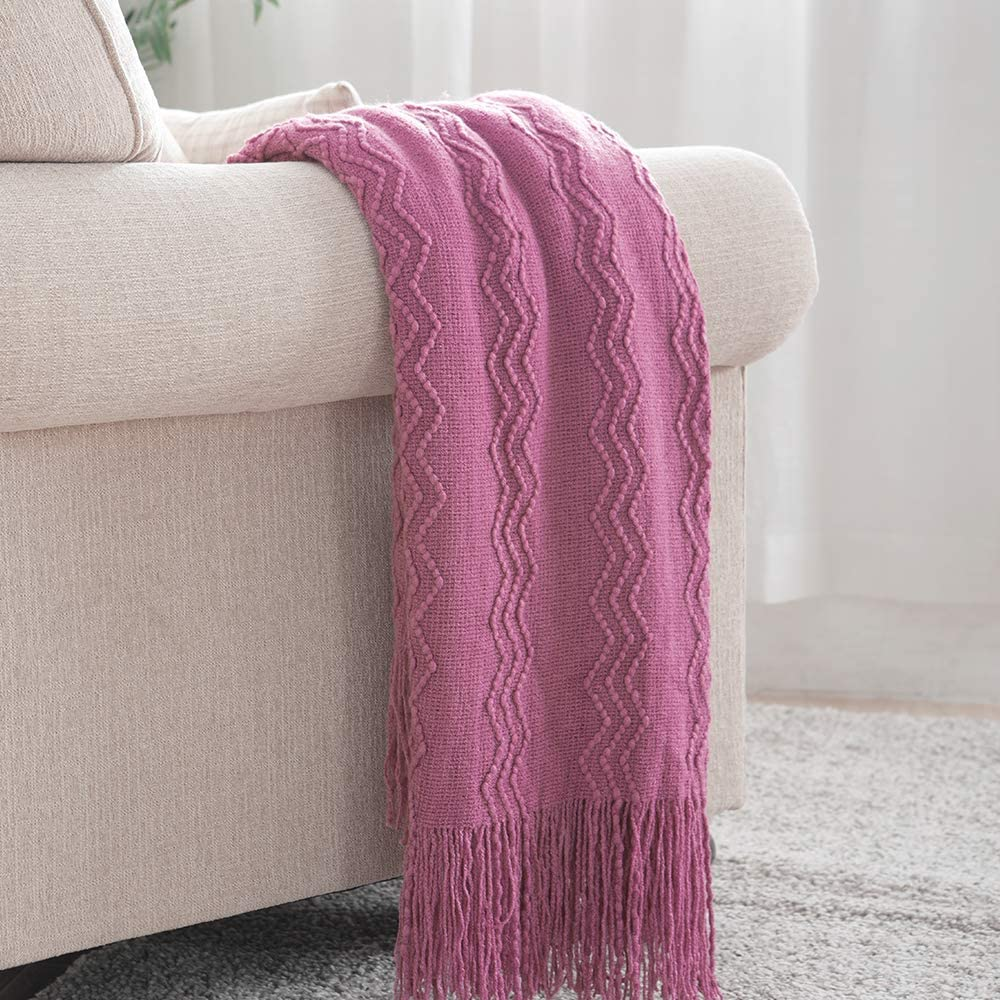 Bourina Textured Solid Soft Sofa Throw Couch Cover Knitted Decorative Blanket,Deep Purple, 60