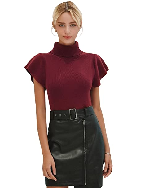 Simplee Women s Elegant Turtleneck Pullover Top Ruffle Short Sleeve Slim  Fit Blouses Purple Red 9af7855bc
