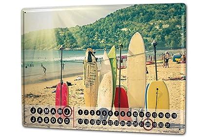 Calendario perpetuo Deportes Tablas de surf Metal Imantado