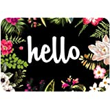 "Hello Flowers Doormat Entrance Mat Floor Mat Rug Indoor/Outdoor/Front Door/Bathroom Mats Rubber Non Slip(30""x18"",45cmx75cm)"