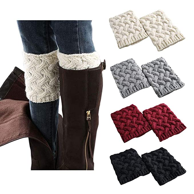 ef6f4f541 Women Boot Cuffs - Winter Knitted Boots Socks Crochet Short Leg Warmers (1   4pairs