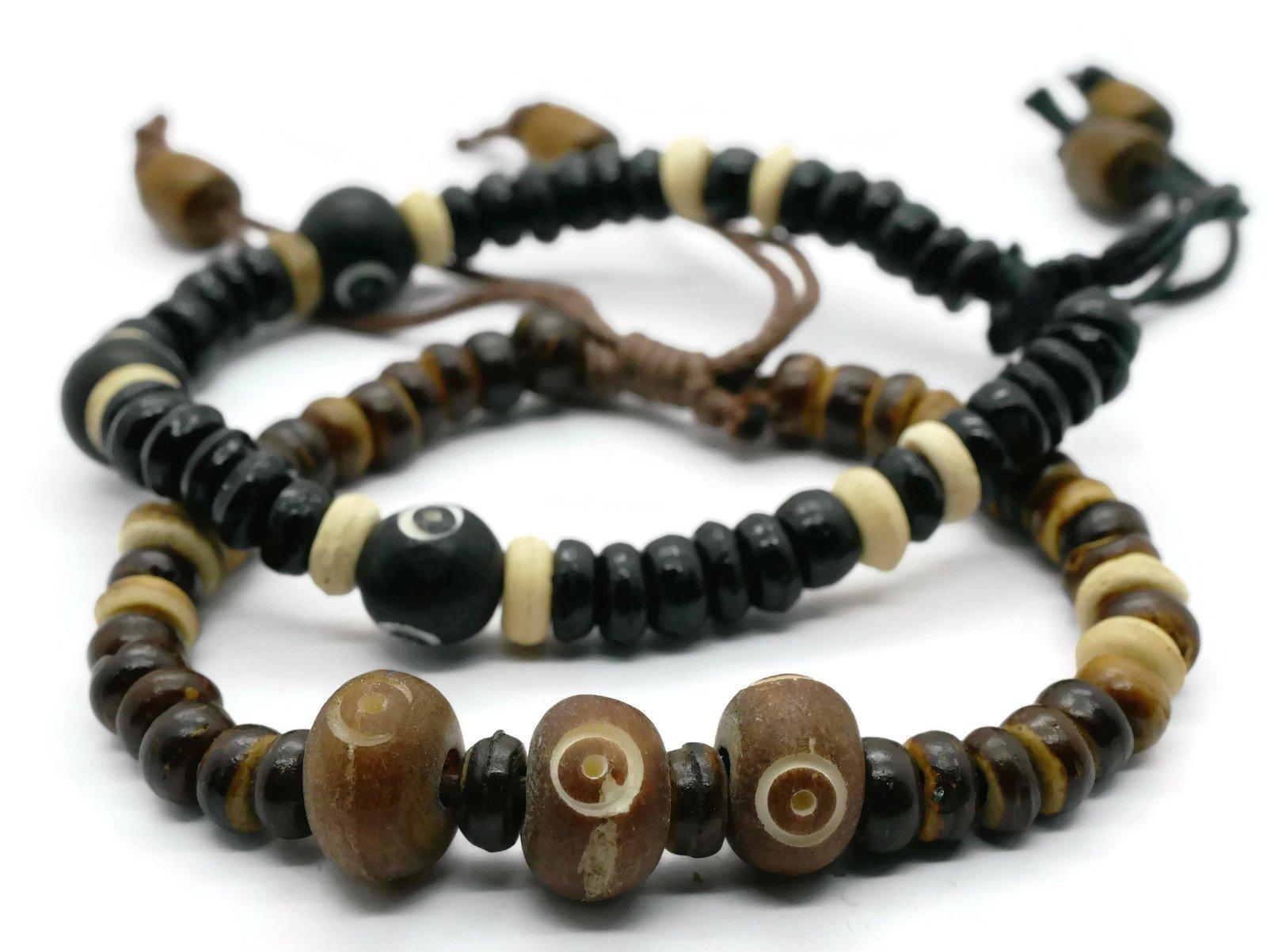 BrownBeans, Set of 2, Wood Beads Macrame Cord Women Mens Boys Sliding Knot Adjustable Bracelets (CBCT6005) (A01)