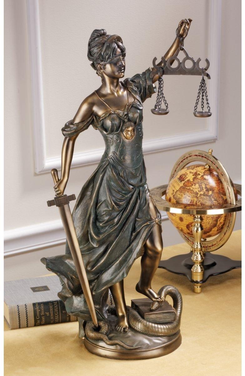 22 h Greek Goddess of Blindfolded Justice Bronze Statue Sculpture Figurine – Judge Attorney Lawyer Gift