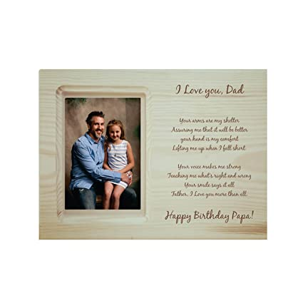 Buy YaYa Cafe Birthday Gifts For Father Engraved Photo Frame Wooden