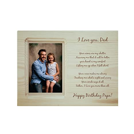 Buy YaYa Cafe Birthday Gifts For Father Engraved Photo Frame Wooden Poem Happy Papa Love You Dad