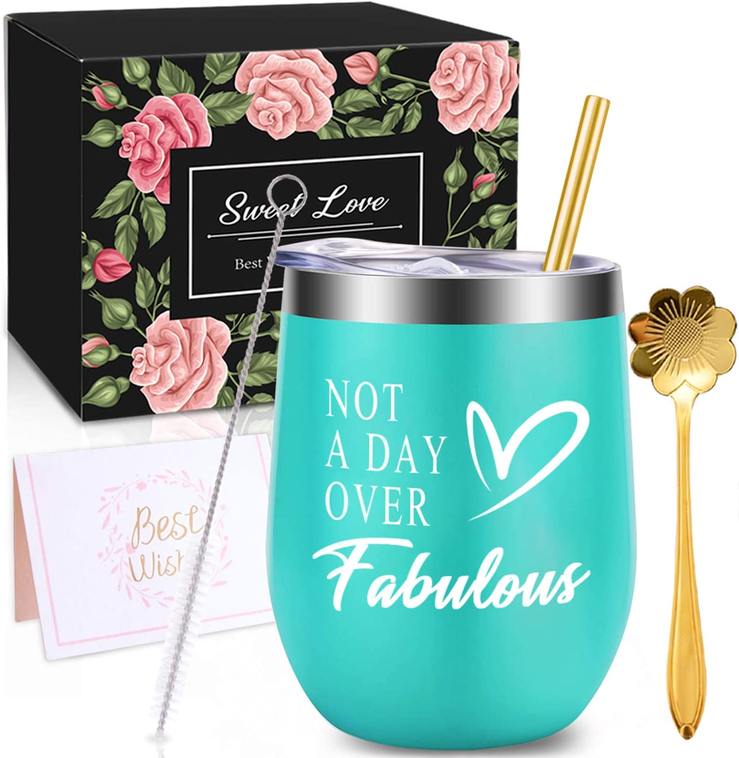 Amazon Com Wonday Gifts For Women Christmas Birthday Gifts For Women Wine Gifts Ideas For Women Mother Bff Mom Friends Wife Daughter Sister 12 Oz Stainless Steel Wine Tumbler With Lid And Coffee Spoon