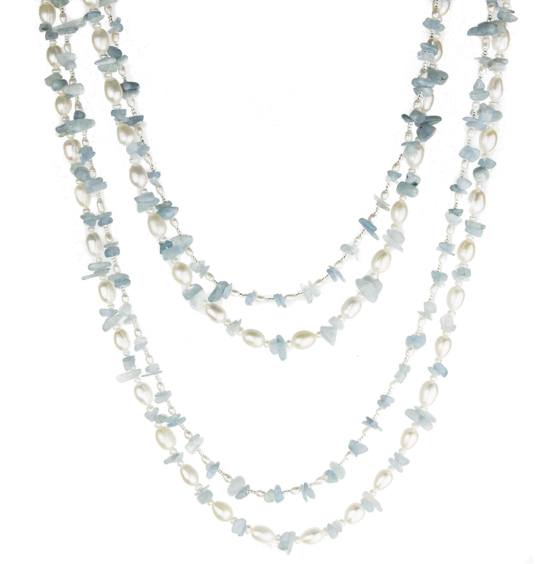 HinsonGayle 'Sky' 2-Strand Freshwater Cultured Pearl & Aquamarine Necklace & Dangle Earrings-40 in length by HinsonGayle Fine Pearl Jewelry (Image #1)