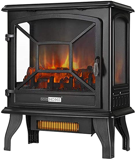 Vivohome 23 Inch 1400w Portable Free Standing Infrared Electric Fireplace Stove Heater With Realistic Log Flame Effect Kitchen Dining