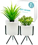 Modern and Realistic Looking Fake Potted Plants – Comes with Chic Ceramic Pots and Metal Stands – 2 Tabletop Plants…