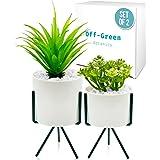 Modern Decor, Realistic Fake Potted Plants–2 Tabletop Plants For Home, Office, Bookshelf, Bedroom–Artificial Fake Desk Plants