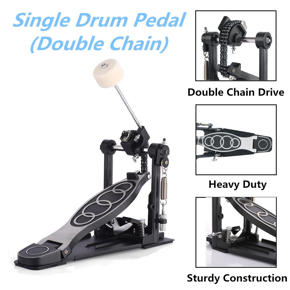 Apelila Double Chain Percussion Kick Drum Pedal, Drum Kick, Bass Pedal (Drum Pedal#2)