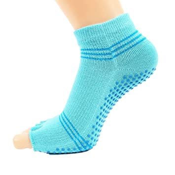 Calcetines de Yoga Medias de Goma Antideslizantes para los Dedos Calcetines Deportivos de algodón Abiertos Pilates, Calcetines Antideslizantes (Color ...