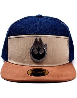 cbc70a2abb1 Bioworld Star Wars Han Solo Millennium Falcon Metal Badge Denim Snapback  Baseball Cap Multicolour