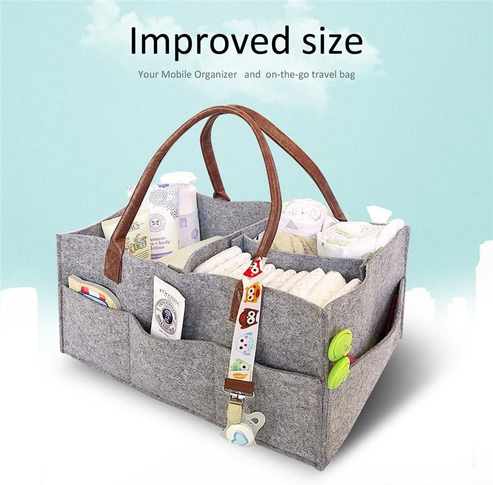 dewdropy Baby Diaper Caddy Portable Changing Table Organiser Nursery Storage Bin Basket With Changeable Compartments Baby Wipes Bag Grey