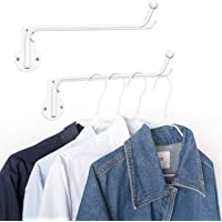 Mkono Wall Mounted Clothes Hanger with Swing Arm Holder Valet Hook Metal Hanging Drying Rack Space Saver for Closet Organizer, Bathroom, Bedroom, Laundry Room 2 Pack, White