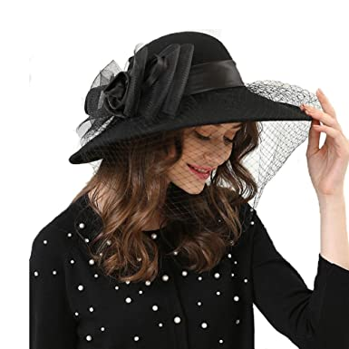 5743f5c158554 Large Stiff Brim Flower Fedora Hat Women Pure Wool Mesh Church Winter Hat  (Black)