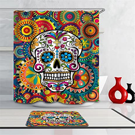 Amazon.com: Sugar Skull Shower Curtain Set,Novelty Floral Skull Blue ...