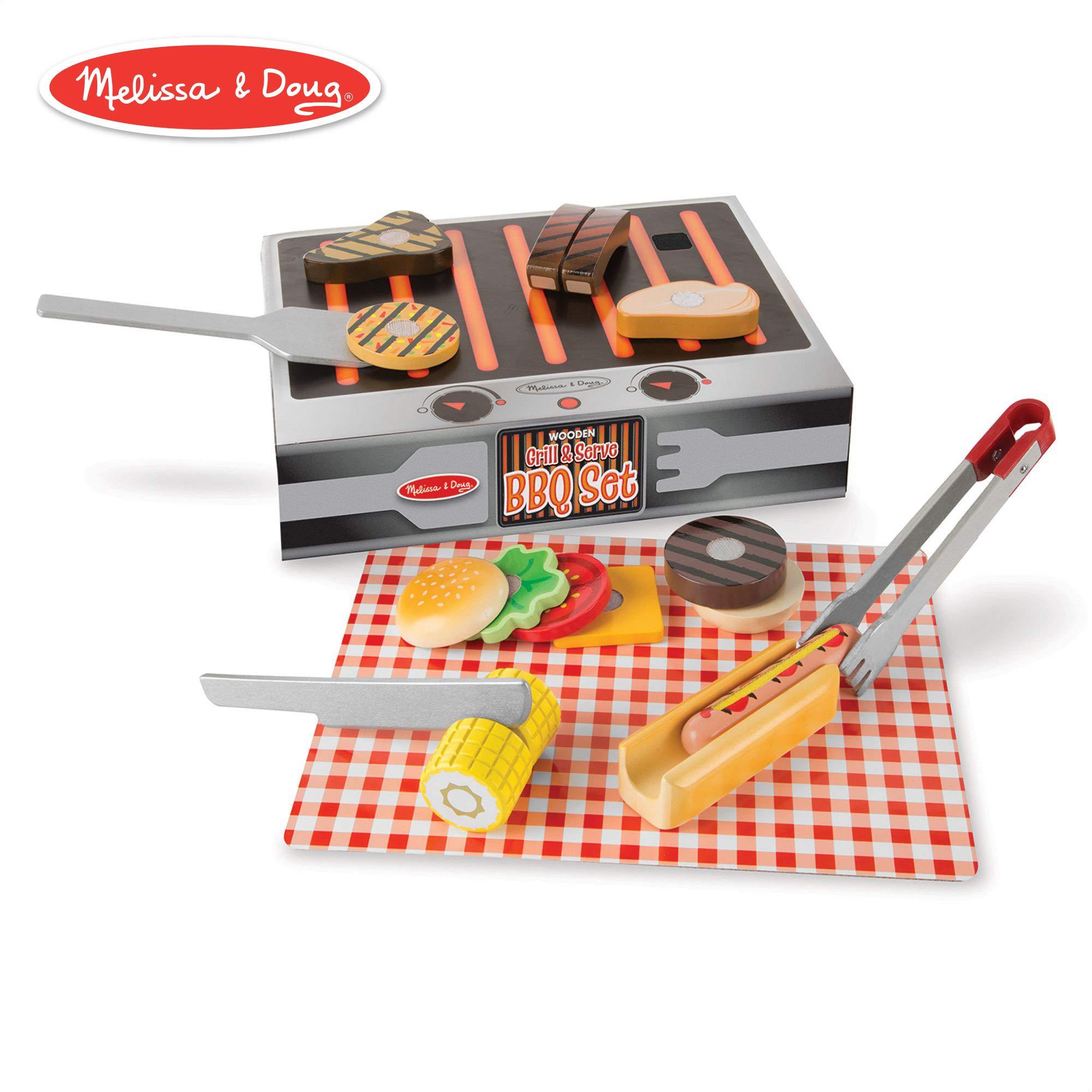 Melissa & Doug Wooden Grill & Serve BBQ Set (Wooden Play Food, 20 Pieces)