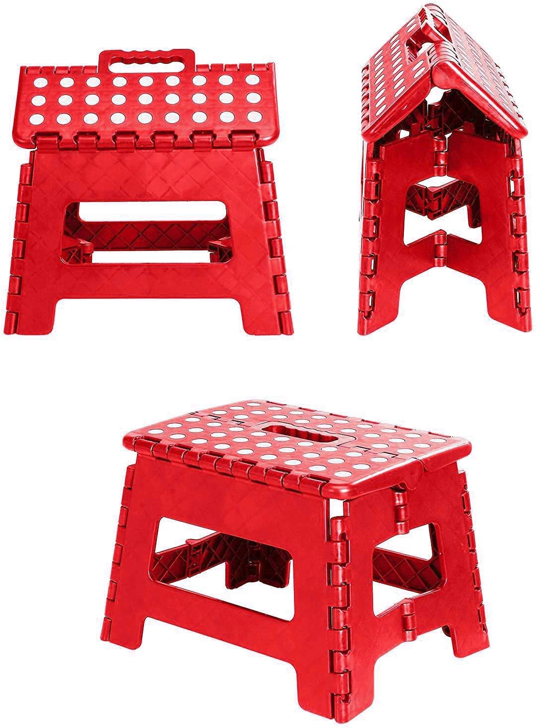 Bedroom Opens Easy with One Flip Kids or Adults. The Lightweight Step Stool is Sturdy Enough to Support Adults and Safe Enough for Kids Bathroom Great for Kitchen White Folding Step Stool